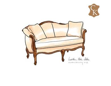 French Style Settee with Scroll Arms 68