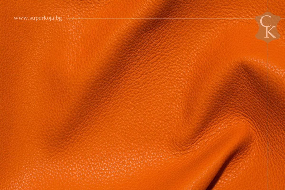 Кожа за тапицерия - шагрен - Оранжев портокал - 1