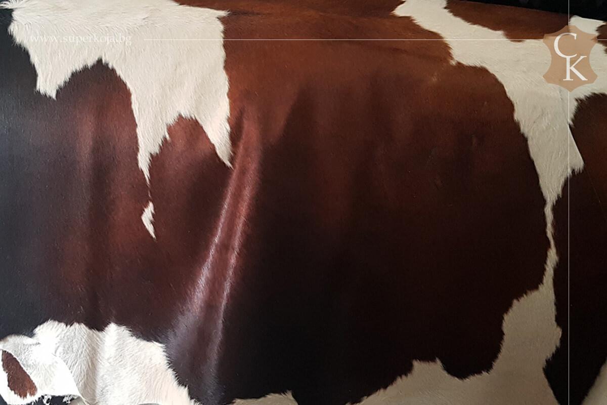 Телешка кожа с косъм за килим кафяв черен - 2