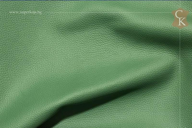 Кожа за тапицерия - шагрен - светло  зелен - 10