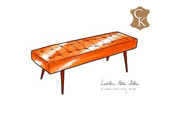 Tufted Mid Century Modern Bench
