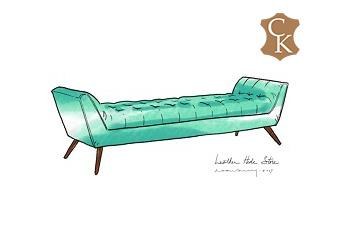 Tufted Mid Century Style Bench