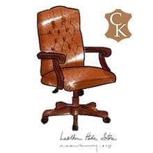 Tufted Wood Arm Executive Chair
